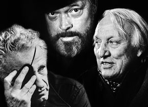 Nicholas Ray (links), Orson Welles (Mitte), Joseph Losey