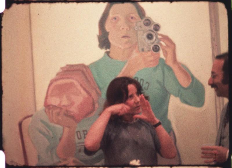 "Maria Lassnig in ""Stone Lifting. A Self Portrait in Progress"" (1971-75) (© Maria Lassnig Stiftung)"